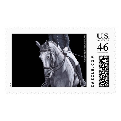 Black & White Duo Dressage Horse large stamp