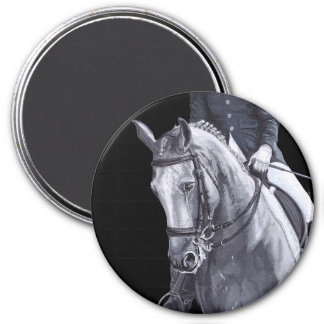 Black & White Duo Dressage Horse round magnet