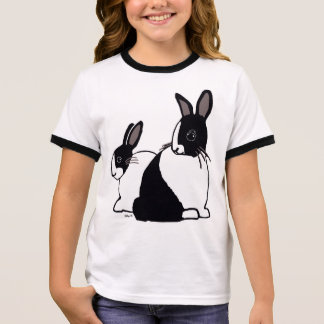 Black & White Dutch Rabbits Girl's Ringer T-Shirt