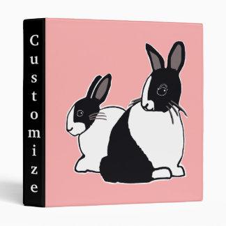 Black & White Dutch Rabbits Pink Custom Binder
