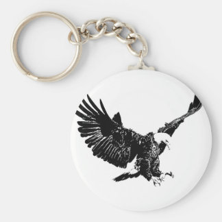 Black & White Eagle Keychain
