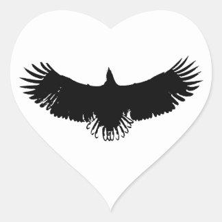 Black & White Eagle Silhouette Heart Sticker
