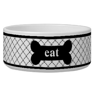 "Black & White ""eat"" Pet Bowl"