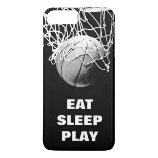 Black White Eat Sleep Play Basketball Motivational iPhone 7 Plus Case