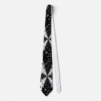 Black & White Echo Music Notes Pattern Tie