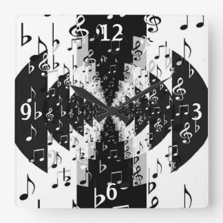 Black & White Echo Music Notes Wall Clock