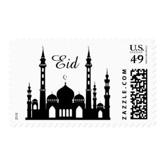 Black & White Eid Islamic Mosque Silhouette Stamp