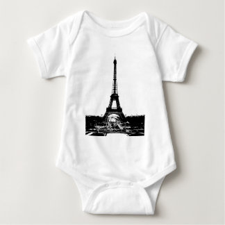 Black & White Eiffel Tower Baby Bodysuit