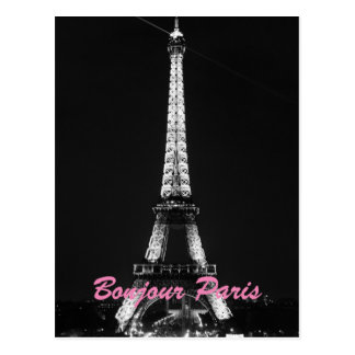 Black White Eiffel Tower Bonjour Paris Night Postcard