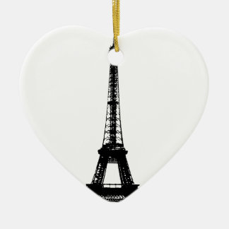 Black & White Eiffel Tower Ceramic Ornament