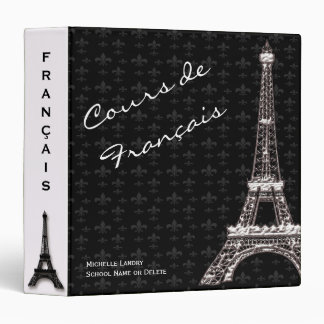 Black White Eiffel Tower French Class 3 Ring Binder