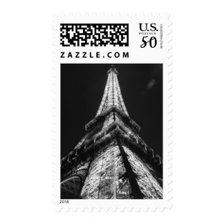 Black & White Eiffel Tower from Below Paris Postage