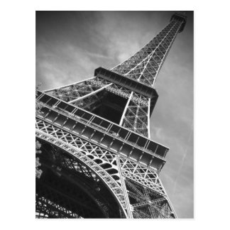 Black & White Eiffel Tower From Below - Paris Postcard