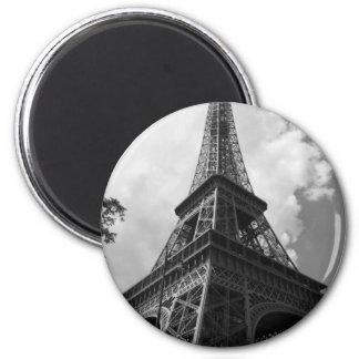 Black & White Eiffel Tower in Paris 2 Inch Round Magnet