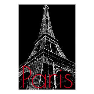 Black White Eiffel Tower in Paris Artwork Poster