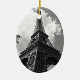 Black & White Eiffel Tower in Paris Ceramic Ornament