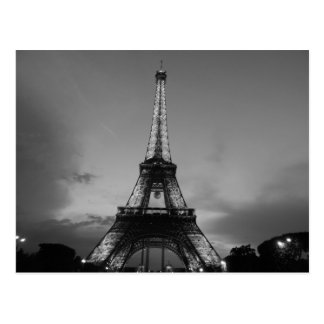 Black & White Eiffel Tower in Paris City Night Postcard