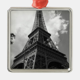 Black & White Eiffel Tower in Paris Metal Ornament