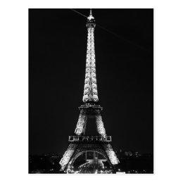 Black White Eiffel Tower in Paris Night Postcard
