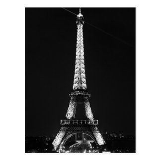Black White Eiffel Tower in Paris Night Postcard