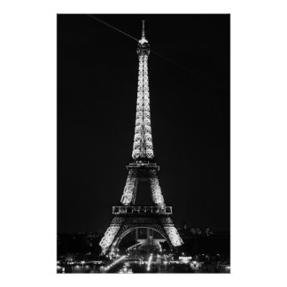 Black White Eiffel Tower in Paris Night Poster