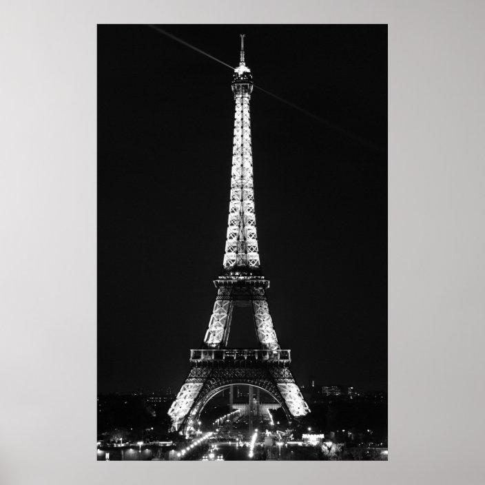 Black White Eiffel Tower In Paris Night Poster Zazzle Com
