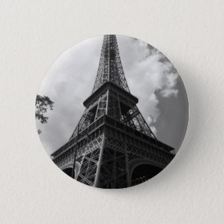 Black & White Eiffel Tower in Paris Pinback Button
