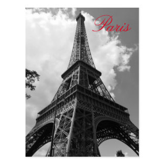 Black & White Eiffel Tower in Paris Postcard