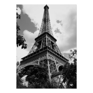 Black White Eiffel Tower in Paris Poster