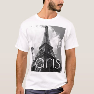 Black & White Eiffel Tower in Paris T-Shirt
