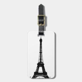 Black & White Eiffel Tower Luggage Tag