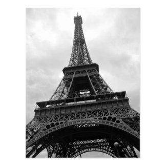 Black & White Eiffel Tower Paris City Europe Postcard