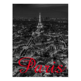 Black White Eiffel Tower Paris City French Travel Postcard