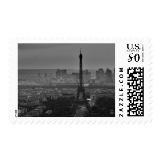 Black & White Eiffel Tower & Paris City Panorama Postage