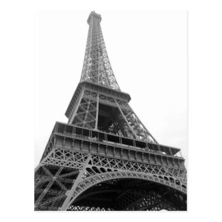 Black & White Eiffel Tower Paris City Postcard
