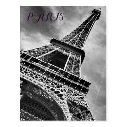 Black & White Eiffel Tower Paris Europe Postcard