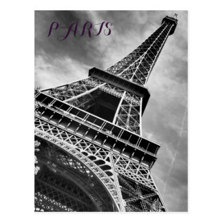 Black & White Eiffel Tower Paris Europe Postcard