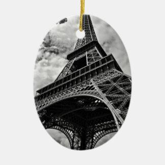 Black White Eiffel Tower Paris Europe Travel Ceramic Ornament