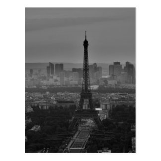Black White Eiffel Tower Paris Europe Travel Postcard