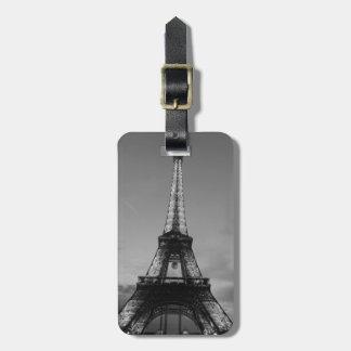 Black & White Eiffel Tower Paris Europe Travel Tag For Luggage