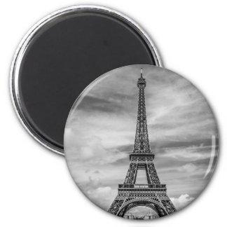 Black & White Eiffel Tower Paris France 2 Inch Round Magnet