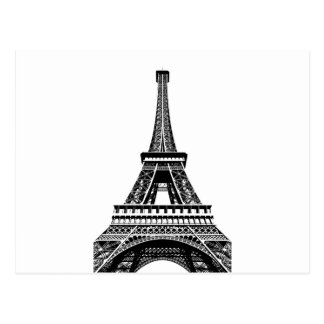 Black white Eiffel Tower Paris France Art Artwork Postcard