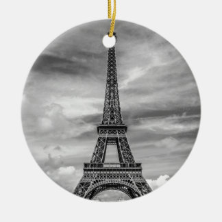 Black & White Eiffel Tower Paris France Ceramic Ornament