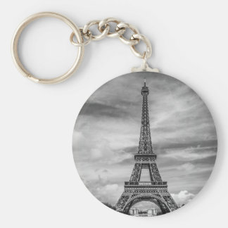 Black & White Eiffel Tower Paris France Keychain