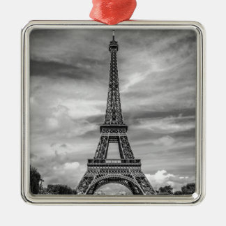 Black & White Eiffel Tower Paris France Metal Ornament