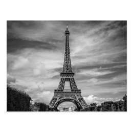 Black & White Eiffel Tower Paris France Postcard