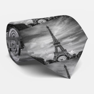 Black & White Eiffel Tower Paris France Tie