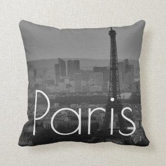 Black White Eiffel Tower Paris France Travel Throw Pillow