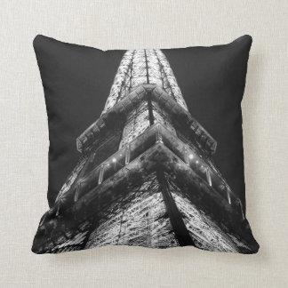 Black White Eiffel Tower Paris French Travel Throw Pillow