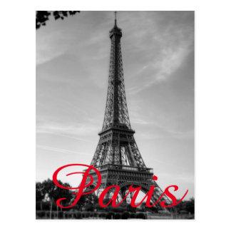 Black White Eiffel Tower Paris Love City Travel Postcard